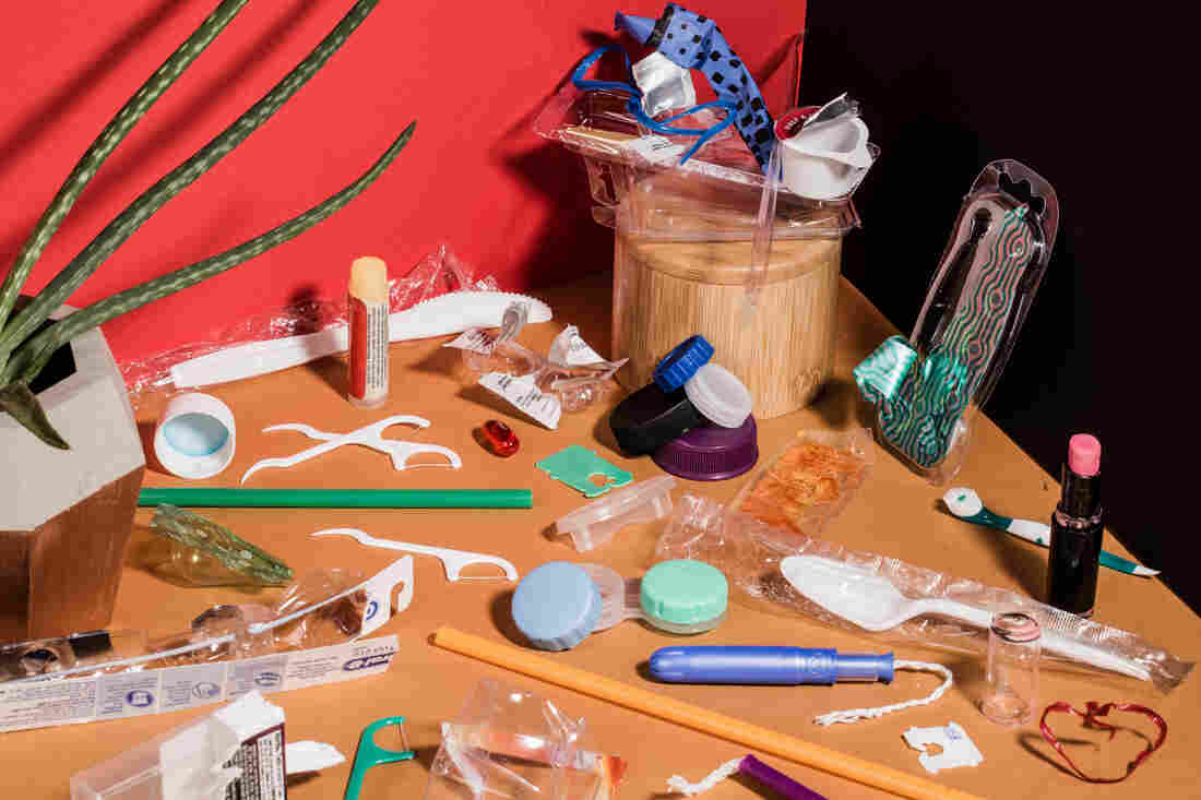 Small plastics, roughly 3 inches or smaller, can cause problems for recycling equipment. They end up being treated as trash.