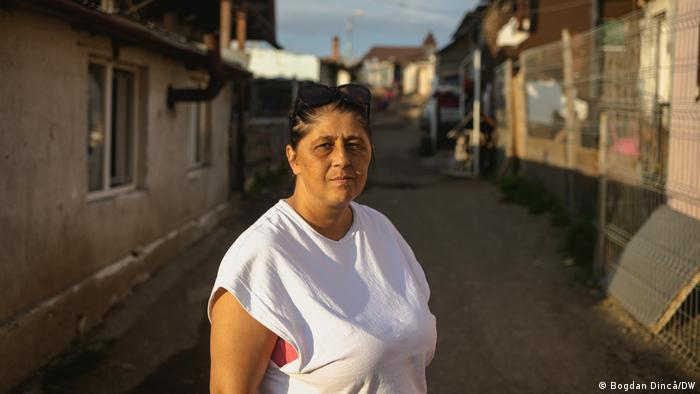 Linda Greta Zsiga, human rights activist at her former home in the Roma camp at the landfill site of Pata Rât on the outskirts of Cluj, Romania