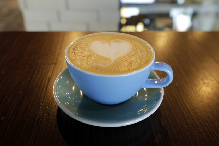 LAS VEGAS, CA -- JANUARY 15, 2020: A latte at PublicUs coffeehouse at 1126 Fremont Street in Las Vegas. (Myung J. Chun / Los Angeles Times)